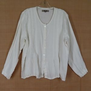 Flax Button Front White Linen Tucked Tunic Top M